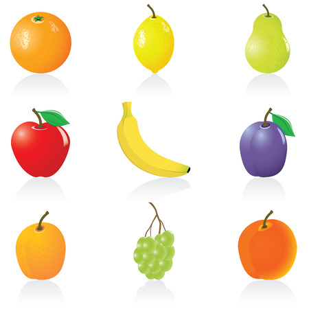 Set with fruit icons Vectores