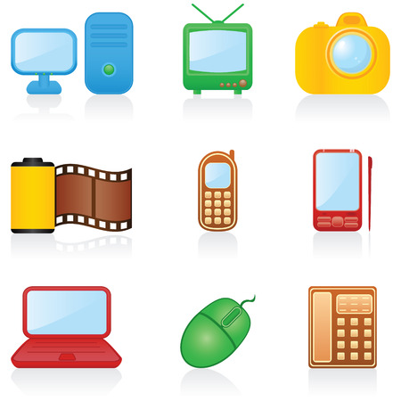 handheld computer: Set with media icons Illustration