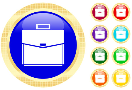 Icon of a briefcase on shiny buttons.  Vector