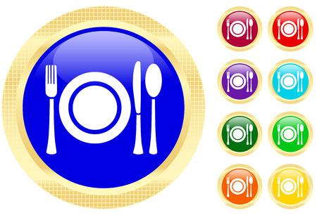 Icon of flatware on shiny buttons Фото со стока - 3282429