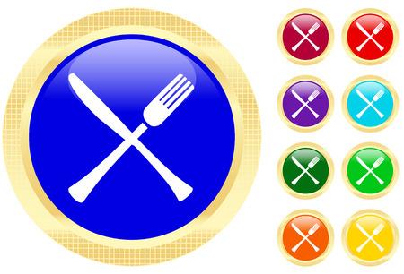 Pictogram van mes en vork op glanzende knoppen Stock Illustratie