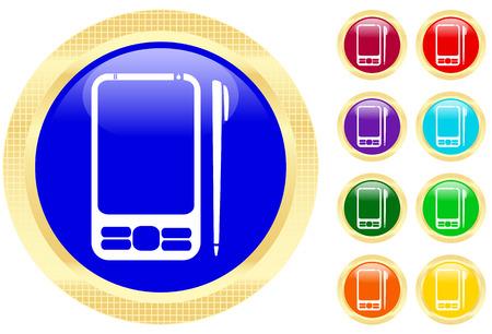 agenda electr�nica: Icono de PDA en brillantes botones  Vectores