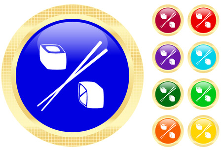 refreshment: Icon of sushi rolls on shiny buttons Illustration
