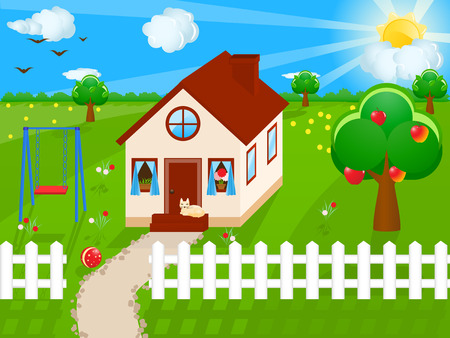 Vector illustratie van een huis Stock Illustratie