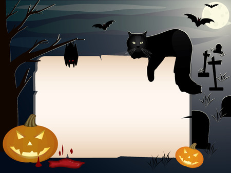 Vector illustration of a spooky Halloween night