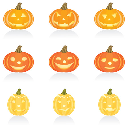 Set with pumpkins for Halloween Vector