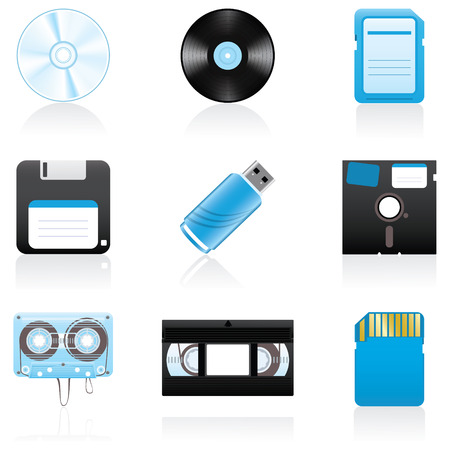Set with storage media icons