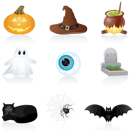 Set with Halloween icons Vector