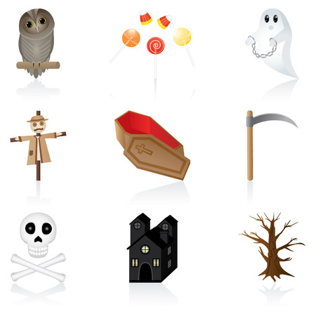 Set with icons for Halloween Vectores