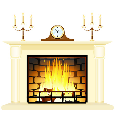 Vector illustration of a fireplace Illustration