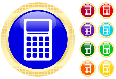 Icon of calculator on shiny buttons Vector