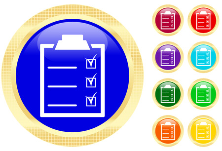 Icon of checklist on shiny buttons Stock Vector - 3696819
