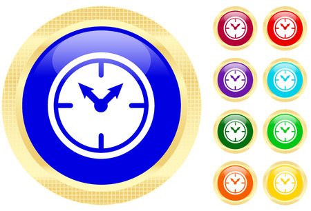 Icon of clock on shiny buttons