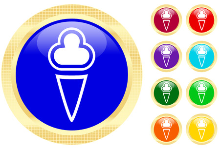 Icon of ice-cream on shiny buttons