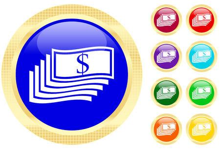 Icon of money on shiny buttons Vector