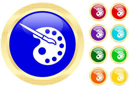 painter palette: Icon of paints and paintbrush on shiny buttons