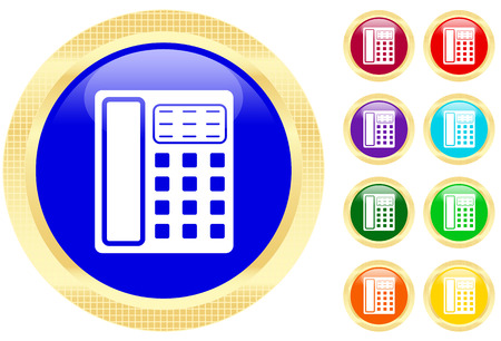 Icon of a telephone on shiny buttons Stock Vector - 3702501