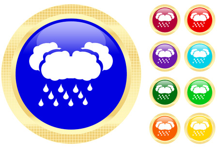 Icon of rain on shiny buttons Vector