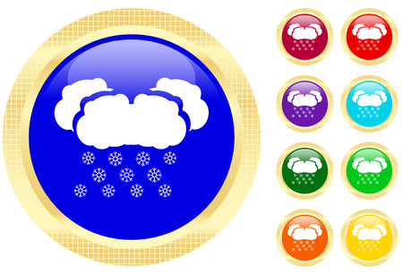 Icon of snow on shiny buttons Vector