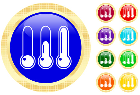 Icon of thermometer on shiny buttons Vector