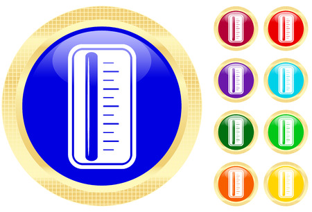 Icon of thermometer on shiny buttons Stock Vector - 3702496