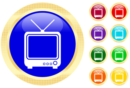 Icon of TV on shiny buttons Vector