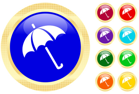 shelter: Icon of umbrella on shiny buttons