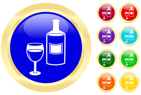 Icon of wine on shiny buttons Stock Vector - 3702494