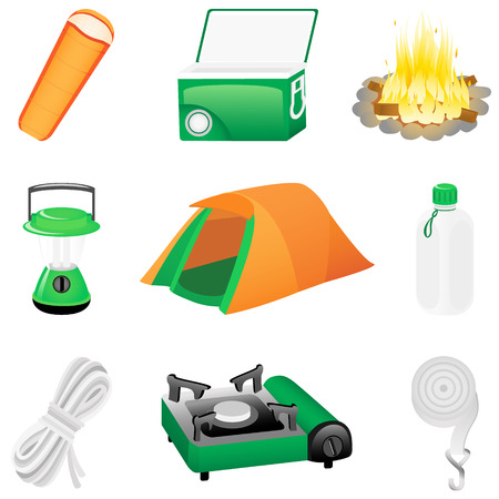 Set with camping icons
