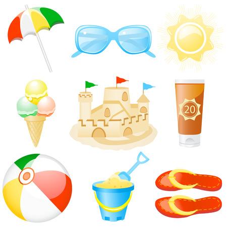 sun lotion: Set con los iconos de viajes y vacaciones