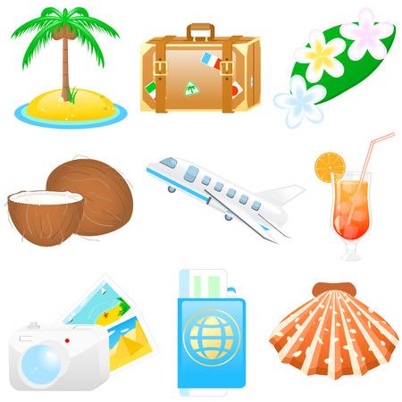 Set met vakanties en reizen iconen