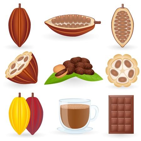 El conjunto de icono de cacao