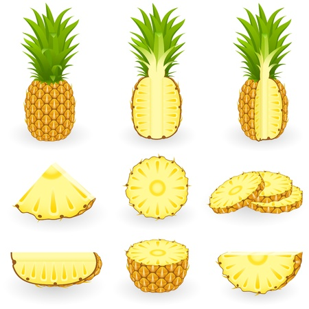 pineapple slice: Icona Set ananas Vettoriali