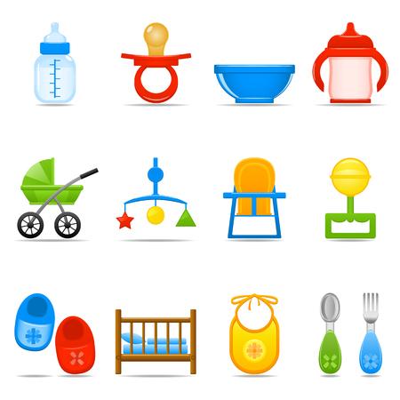 feeding bottle: Icon Set Baby Care