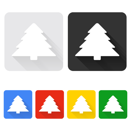 new year tree: Christmas Tree icon set with long shadow