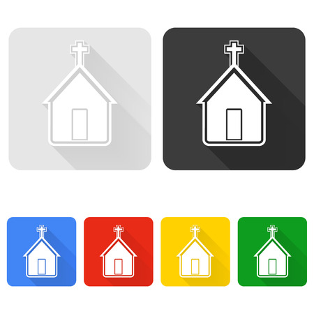 doctrine: Vector illustration of church icon on colorful buttons