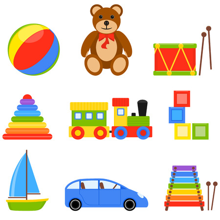 barco caricatura: Vector Illustration with colorful icons of children toys Vectores