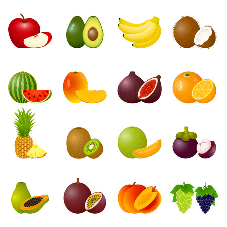 ripe: Vector illustration with ripe fruits and slices Illustration