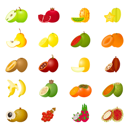 quarters: Vector illustration with colorful fruit icons and slices