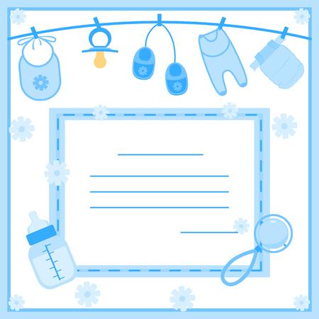 赤ちゃん男の子のシャワーの招待状のベクトル イラスト  イラスト・ベクター素材