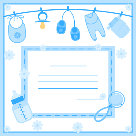 Vektor-Illustration von Baby-Dusche-Einladung Standard-Bild - 48886146