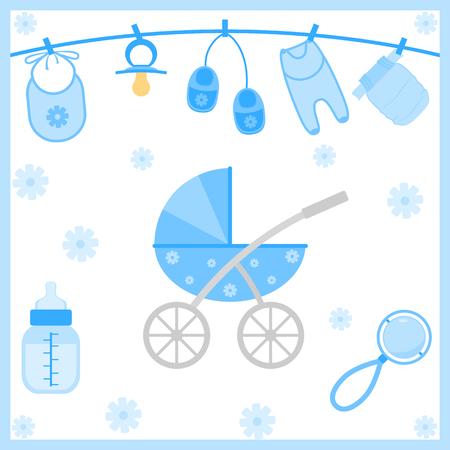 play boy: Vector illustration of baby boy shower items