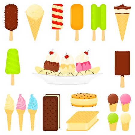 banane: Vecteur de desserts à la crème douce de glace