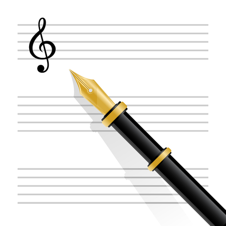 musical staff: Vector illustration of musical staff with treble clef and fountain pen Illustration