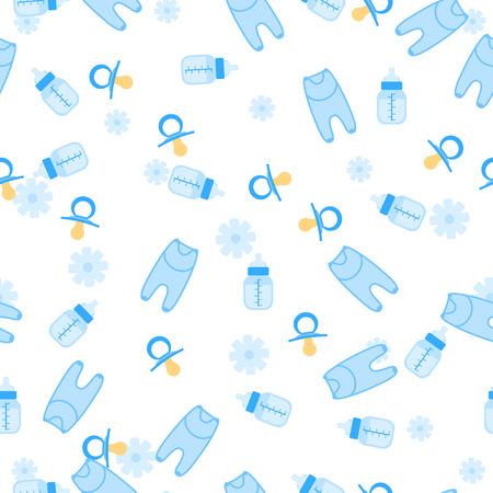 Illustration der Baby-Dusche nahtlose Muster für Jungen