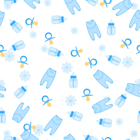 arrival: illustration of baby shower seamless pattern for boy