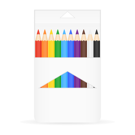isolated: illustration of a box with colorful pencils Illustration