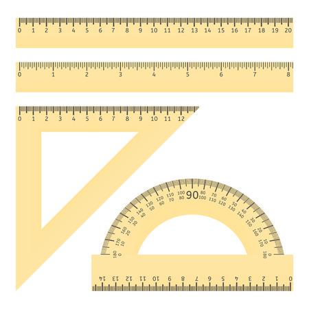様々 な定規と分度器のイラスト  イラスト・ベクター素材