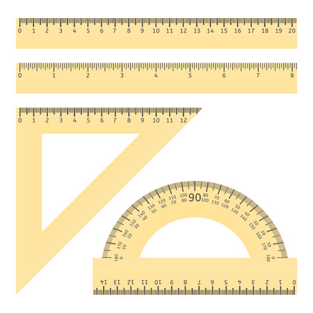 ruler: illustration of various rulers and protractor