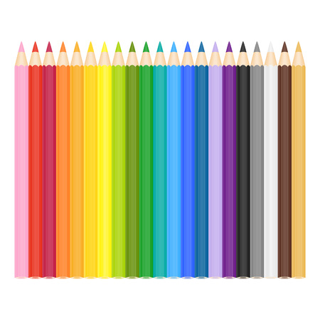 palette: illustration of colored pencils on white background